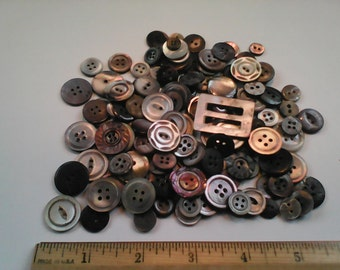 Vintage mother of pearle buttons smokey grey some carved