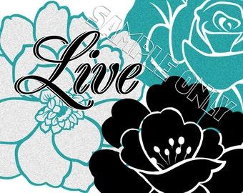 Teal Gray Black Flowers Floral Live Laugh Love Dream Believe Wall Art Prints Decor
