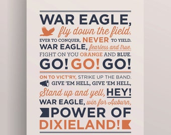 Auburn University Fight Song Screen Print, Auburn Football, War Eagle, Auburn University, Auburn Tigers, Auburn Poster