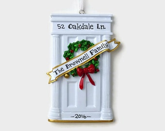 White Door - New Home - First Apartment Personalized Ornament - Hand Personalized Christmas Ornament