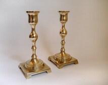 Vintage brass candlesticks Pair of golden brass centerpiece candle holders turned candlestick holders Celebration Mantlepiece Wedding