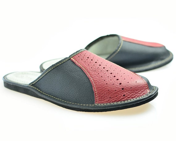 mens bedroom shoes items similar to mens house slippers leather 12381
