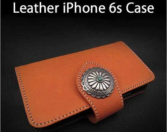 Leather iPhone Case 6s Orange Colour K01E02