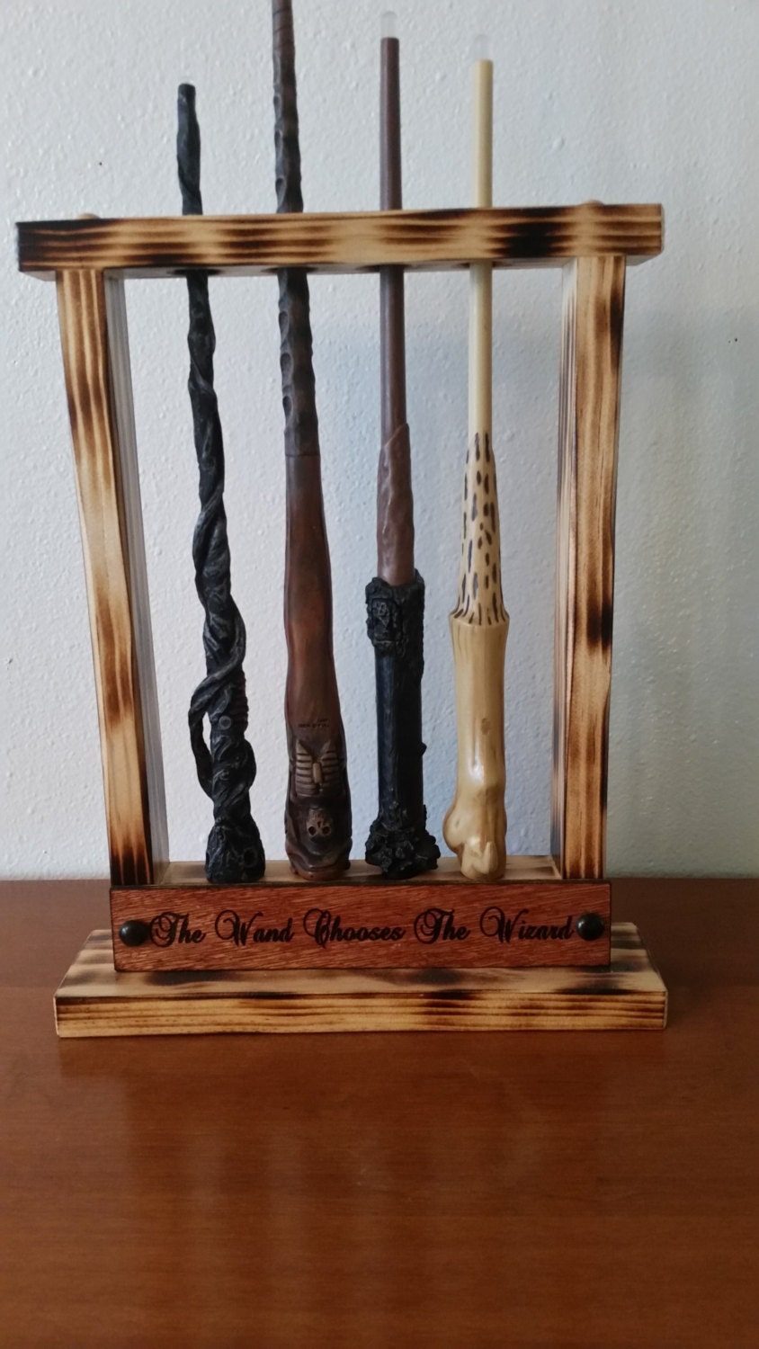 potter wand display magic wand holder holds 4 sticks table. Black Bedroom Furniture Sets. Home Design Ideas