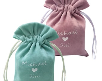 200 Custom Printed Logo Velvet Drawstring Pouches - Wedding Favors, Gifts Packaging - Bags Supply for Jewelry, Accessories