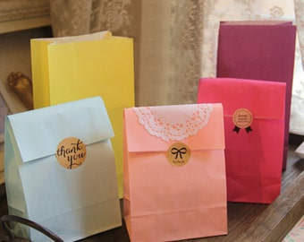 100 (small) Color Paper Bags - Color Packaging
