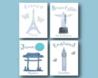 29,Oh, the places you'll go,dr Seuss,baby boy nursery art print,blue,gray nursery,France,Brazil,Japan,England