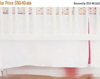 """30% OFF Tailored 17"""" Crib Skirt White Pique with Hot Pink Pleat for Girls"""