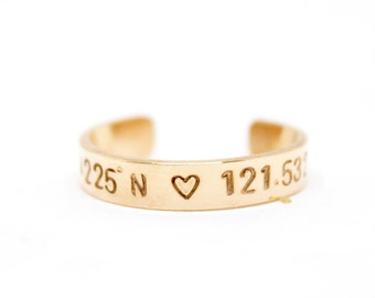 Coordinates Ring | Hand Stamped Jewelry | Nerd Jewelry | Coordinates Jewelry | Gold Band Ring | Personalized Ring | Adjustable Ring