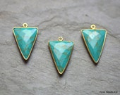 Natural Turquoise Bezel Charm Triangle Shape 30mm, 24K Gold Plated Brass - INGS-02