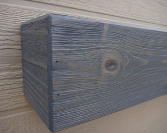"Fireplace mantel.Wood Mantel.Floating shelf.60"" Long x 5.5"" Tall x 5.5"" Deep.Gray Fireplace Mantle .Wooden Mantel.TV Shelf.Fireplace Decor"