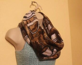 Brown coffee/expresso print single loop fleece infinity scarf