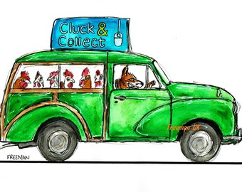 "Fox and his Chickens!  Morris Traveller ""Cluck & Collect"" Delivery service.  Greetings card"
