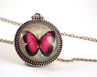 Pink Butterfly Glass Dome Pendant Necklace