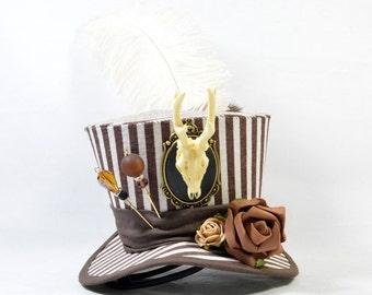 Steampunk mini Hat - stripes - antler cameo + Rosen-Fascinator - headpiece