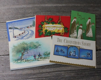 Vintage Christmas cards, set of 5 midcentury Christmas cards