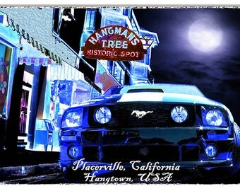 Mustang Placerville California Original Artwork 12''x18'' sign RG7709