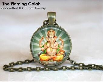 GANESH Pendant Necklace •  Hindu God of Good Fortune •  God of Prosperity •  Hindu Elephant God •  Made in Australia (P0703)