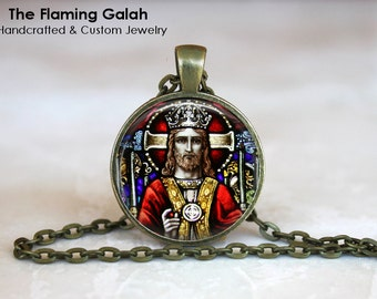 JESUS CHRIST Stained Glass Window Pendant. Church Window. Christian. Necklace / Key Ring.  Handmade in Australia (P0651) **Free Shipping**