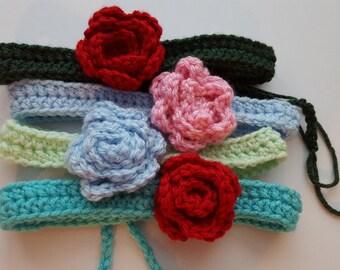 Crochet headband, photo prop, flower headband, baby headband, teen headband