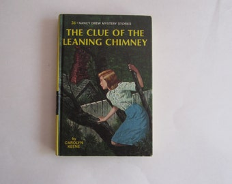 Nancy Drew The Clue of the Leaning Chimney, Nancy Drew 1970s Number 26, Nancy Drew vintage book, 1970s Nancy Drew book, Nancy Drew mystery