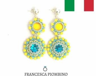 DIY ITA - Schema fotografico PDF orecchini Federica - Orecchini con perline e rivoli da 14 e 12mm. Beading pattern.