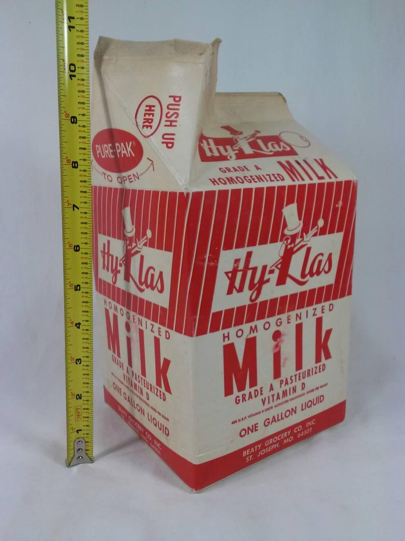 vintage hy klas one gallon paper milk carton st joseph. Black Bedroom Furniture Sets. Home Design Ideas