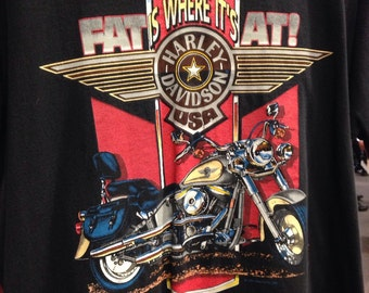 Harley Davidson fat is where it's at shirt. Size large totally awesome bujer shirt.