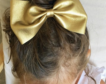 Gold Leather large bow clip