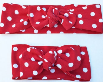 Red Polka Dot top knot Mommy & Me set