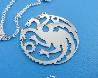 House Targaryen Necklace (free shipping) - Game of Thrones pendant - stainless steel