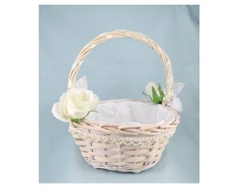 White Wicker Flower Girl Basket - White Roses - Satin Lining