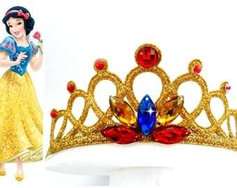 Snow White Headband, Snow White Tiara,Princess Snow White Headband,Jeweled Tiara Red blue yellow stone, Snow White Crown,Snow White costume