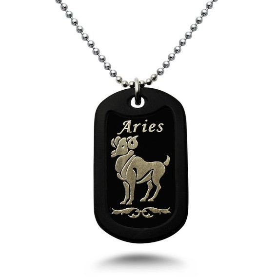 Leo Zodiac Sign Traits Dog Tag Necklace Pendant Stainless: Items Similar To Aluminum Dog Tag Necklace With Laser