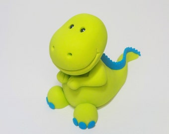 T-Rex Dinosaur Fondant Cake Topper 1st Birthday Baby Shower Blue custom Color Option