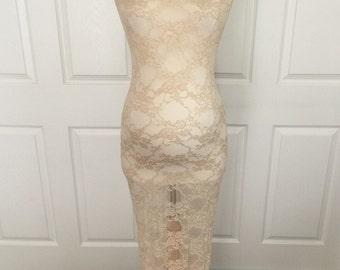 Champagne Lace Maternity Slip/ Lace Maternity Tube Dress