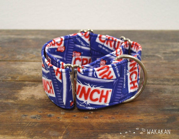 Martingale dog collar model Crunch. Adjustable and handmade with 100% cotton fabric. Chocolate Wakakan