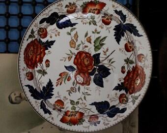 "Large Wedgwood of Etruria Barlaston England Transferware Platter 16 1/2"" Oranges, Blues, Browns, Greens Fall Colors"