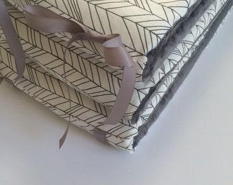 Crib Bumpers - White and Grey Herringbone