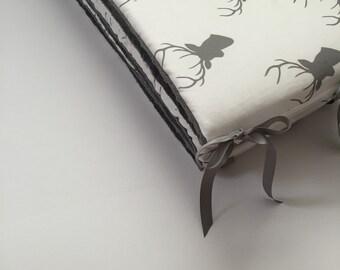 Crib Bumper - Deer with Grey Minky