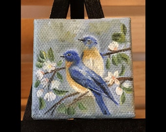 Miniature Oil Painting - Blue Birds
