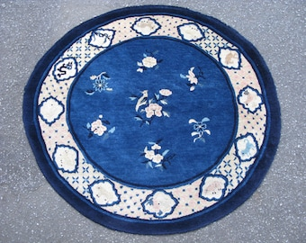 Antique Chinese Peking rug hand knotted wool round blue 50x47in zodiac12 symbols