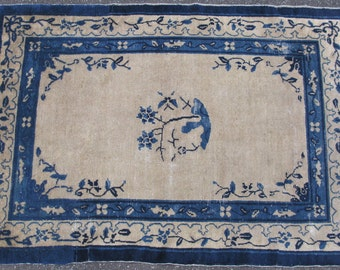 Antique Chinese Peking rug ca.1890 hand knotted wool beige/blue 47x68in #3634