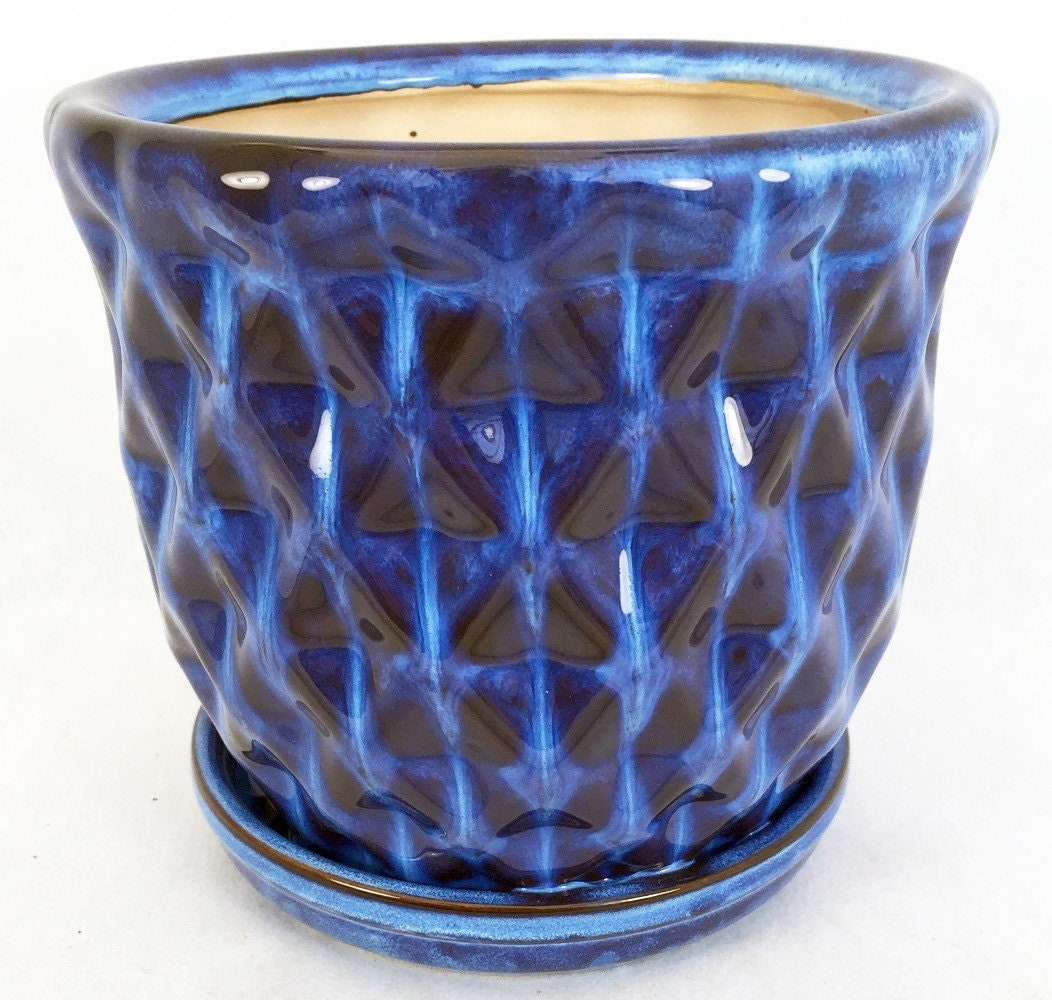 blue pineapple glazed ceramic pot  saucer 8 quot  x 6 quot  with Etsy Home Etsy Products