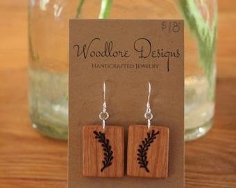 Wood Burnt Cherry Earrings, Fern