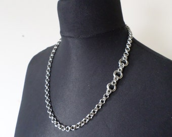 Asymetrical Chainmail Mobius Link Necklace - Stainless Steel Chainmaille Jewelry