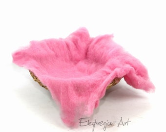 Wool cloud, CANDY PINK, filling the baskets, newborn photo prop, woolen fluff