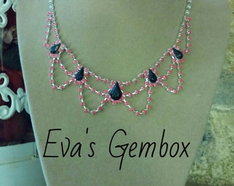 Delicate painted rhinestone necklace