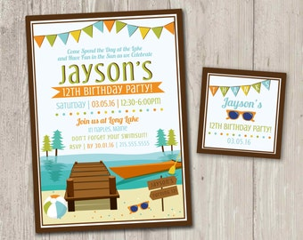 Lake Birthday Party Invitations, Kayak Party | Summer Party Printable