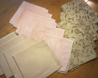 Pink & White, Pink or Beige Napkins- Sets of 4 and 6